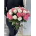 25 РОЗ ЭКВАДОР бело-розовые